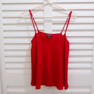 TOPSHOP BASIC CAMI TOP IN RED